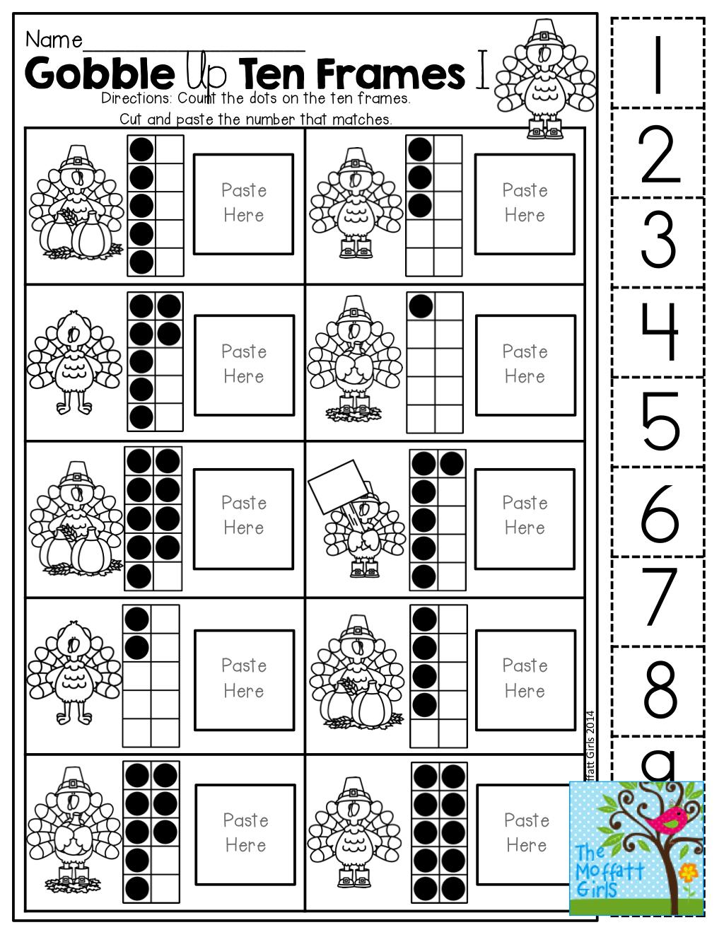 Ten Frame (Cut And Paste)! Tons Of Hands-On Printables! | Kinderland | Frame Games Printable Worksheets