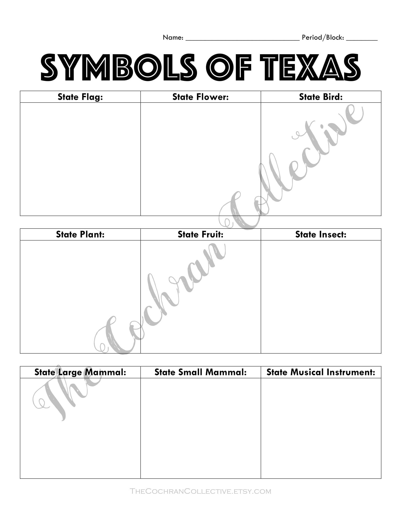 Texas State Symbols Worksheet Printable- Texas History - Texas | Texas History Worksheets Printable
