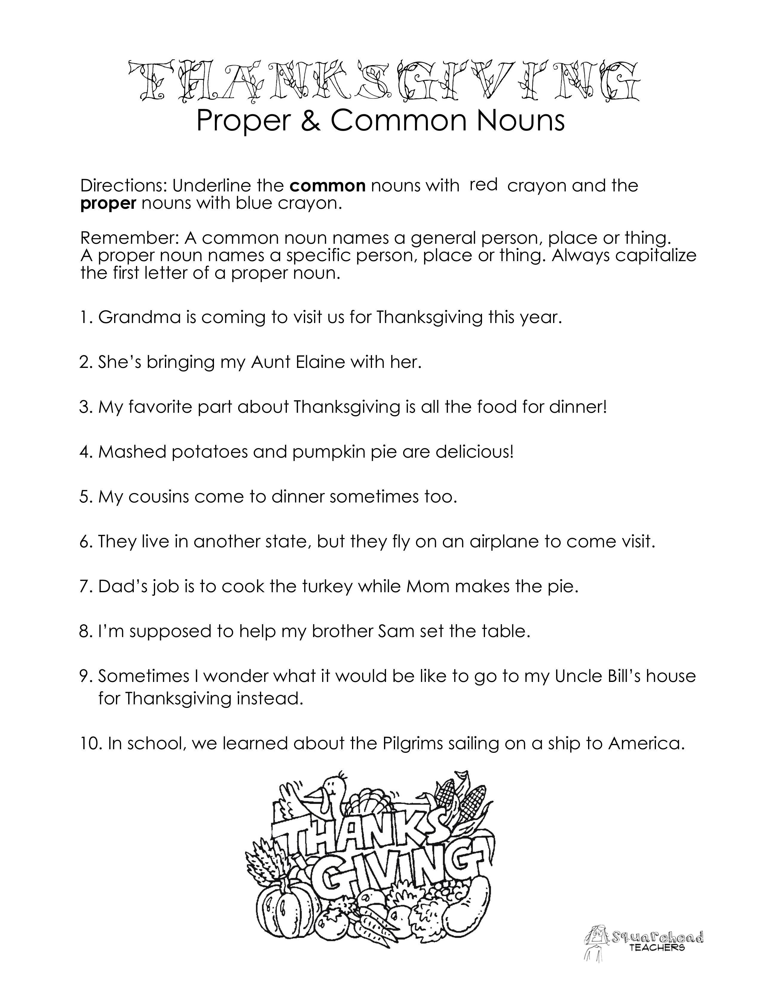 Thanksgiving Common Vs. Proper Nouns Worksheet   Squarehead Teachers   Free Printable Thanksgiving Worksheets For Middle School
