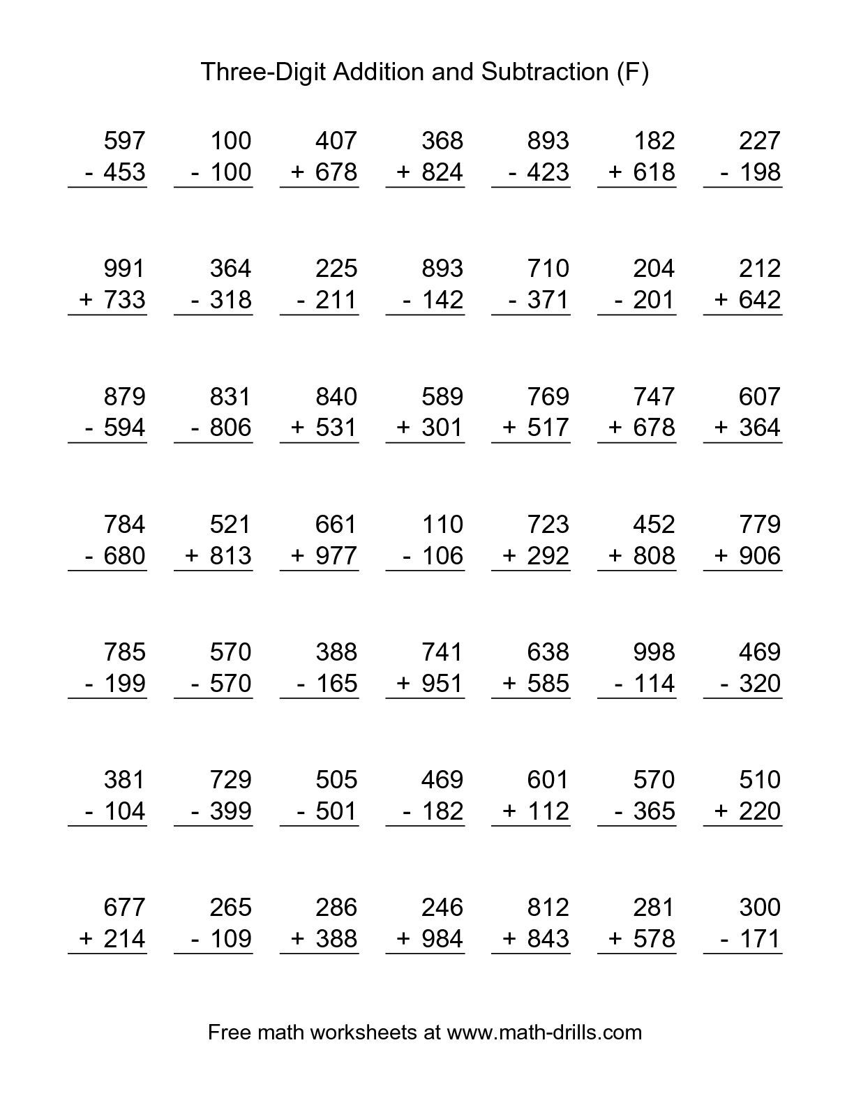 The Adding And Subtracting Three-Digit Numbers (F) Math Worksheet | Printable Addition And Subtraction Worksheets For Grade 3