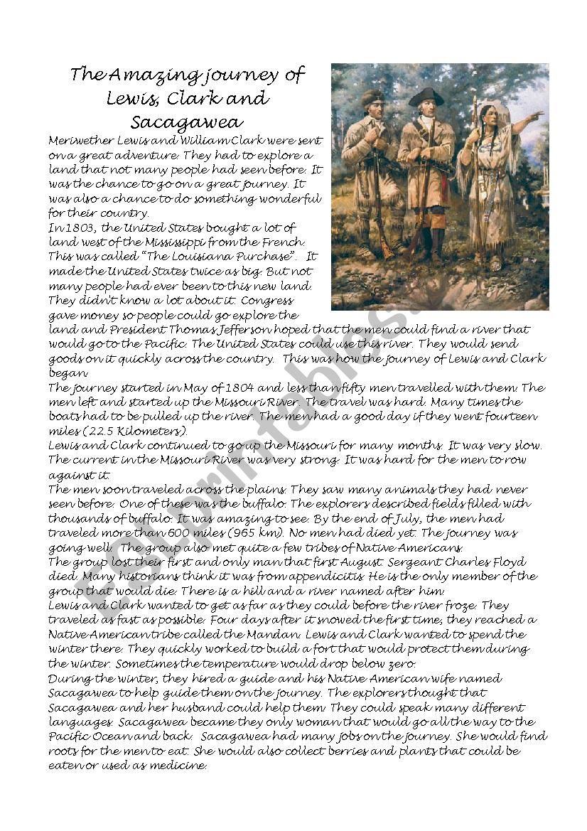 The Amazing Journey Of Lewis, Clark And Sacagawea - Esl Worksheet | Sacagawea Printable Worksheets