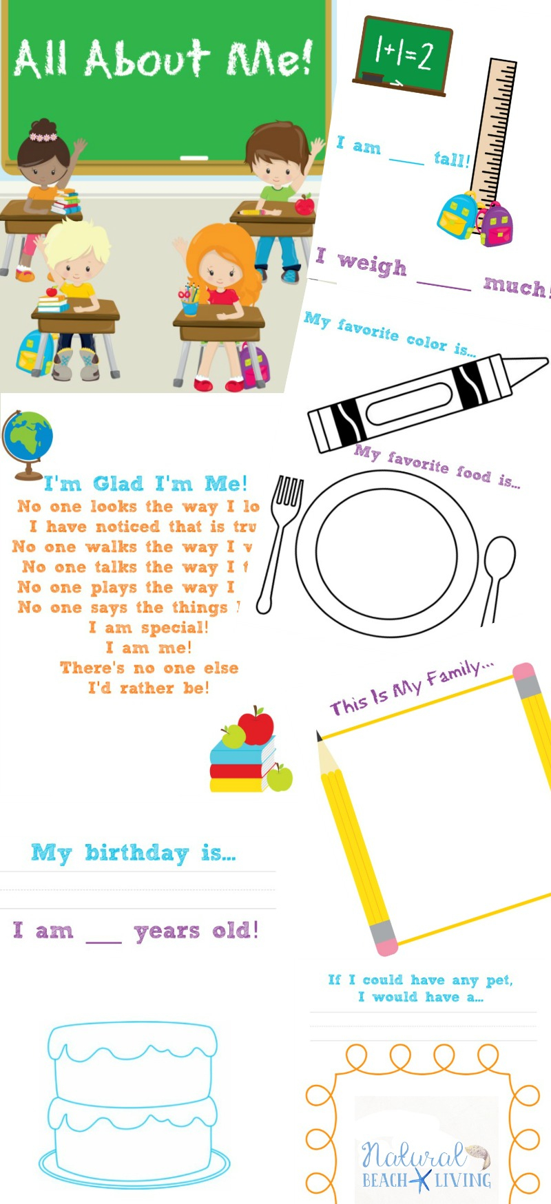 The Best All About Me Preschool Theme Printables - Natural Beach Living | All About Me Worksheet Preschool Printable