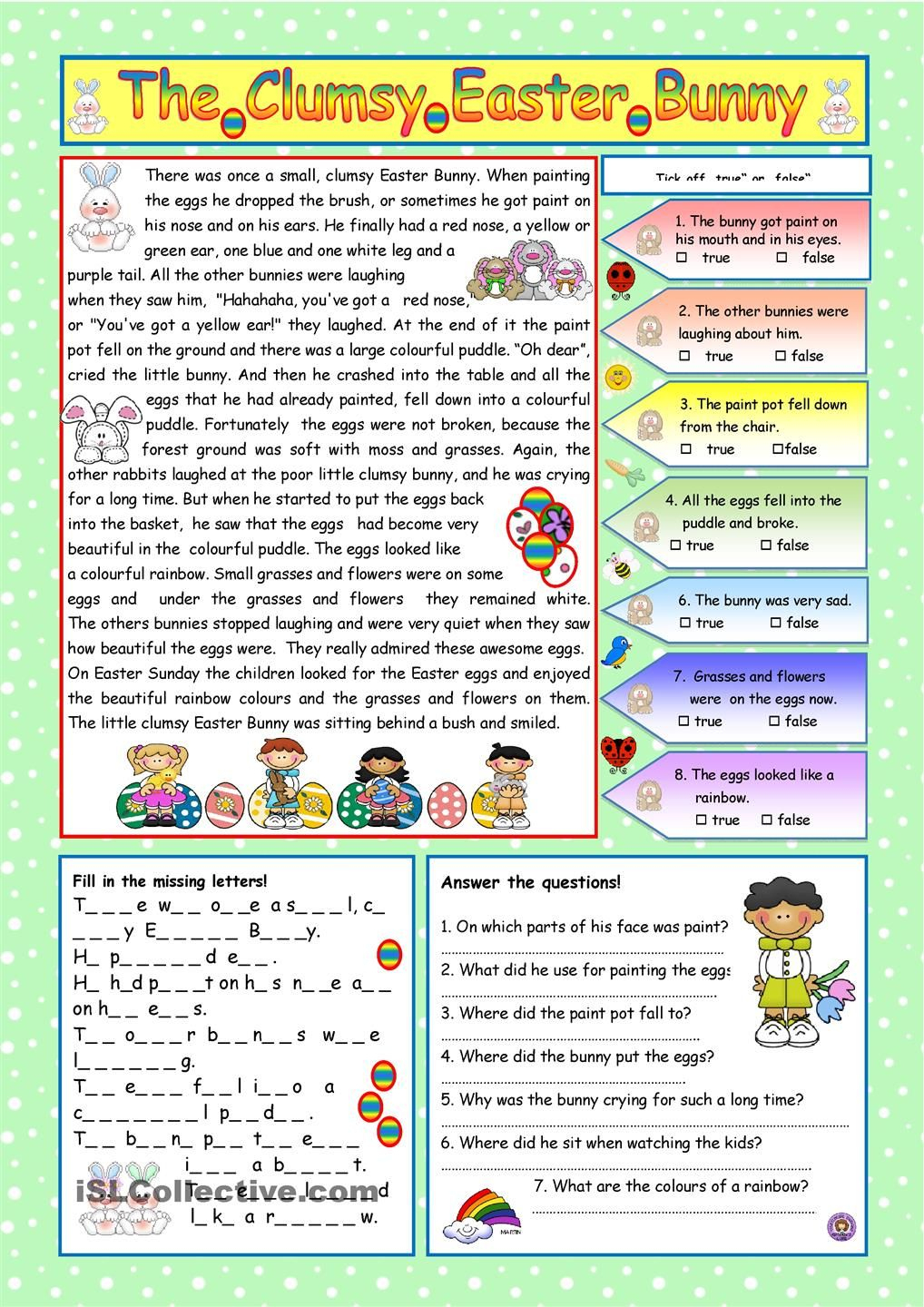 The Clumsy Easter Bunny (Key Included) | Easter | Comprehension | Free Printable Easter Reading Comprehension Worksheets