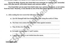 The Great Wall Of China – Esl Worksheetmariflo | Great Wall Of China Printable Worksheet
