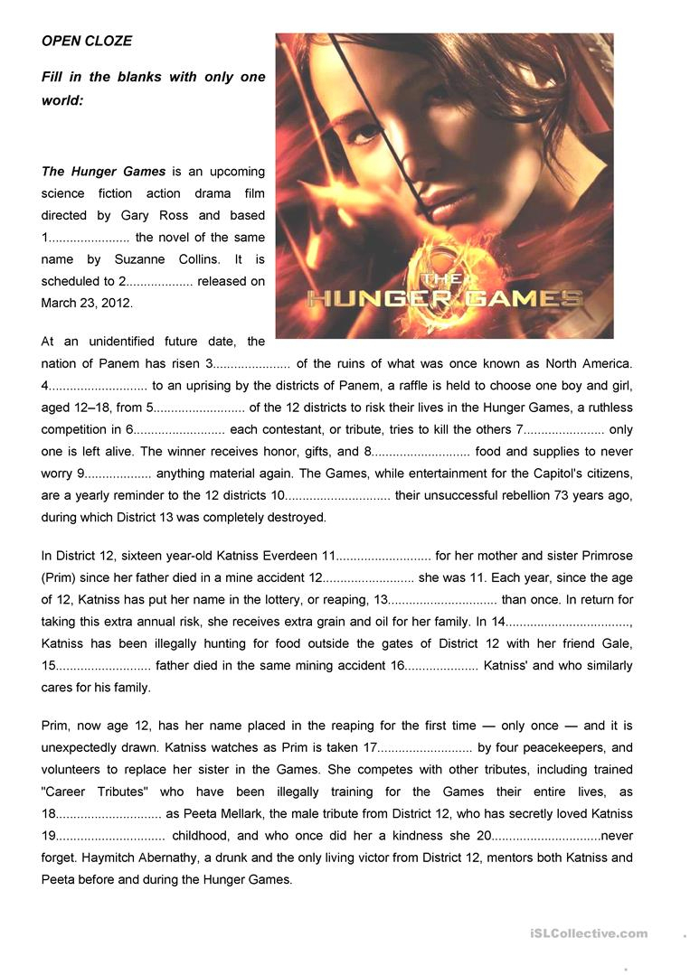 "The Hunger Games"" Open Cloze Worksheet - Free Esl Printable - Hunger | Hunger Games Free Printable Worksheets"