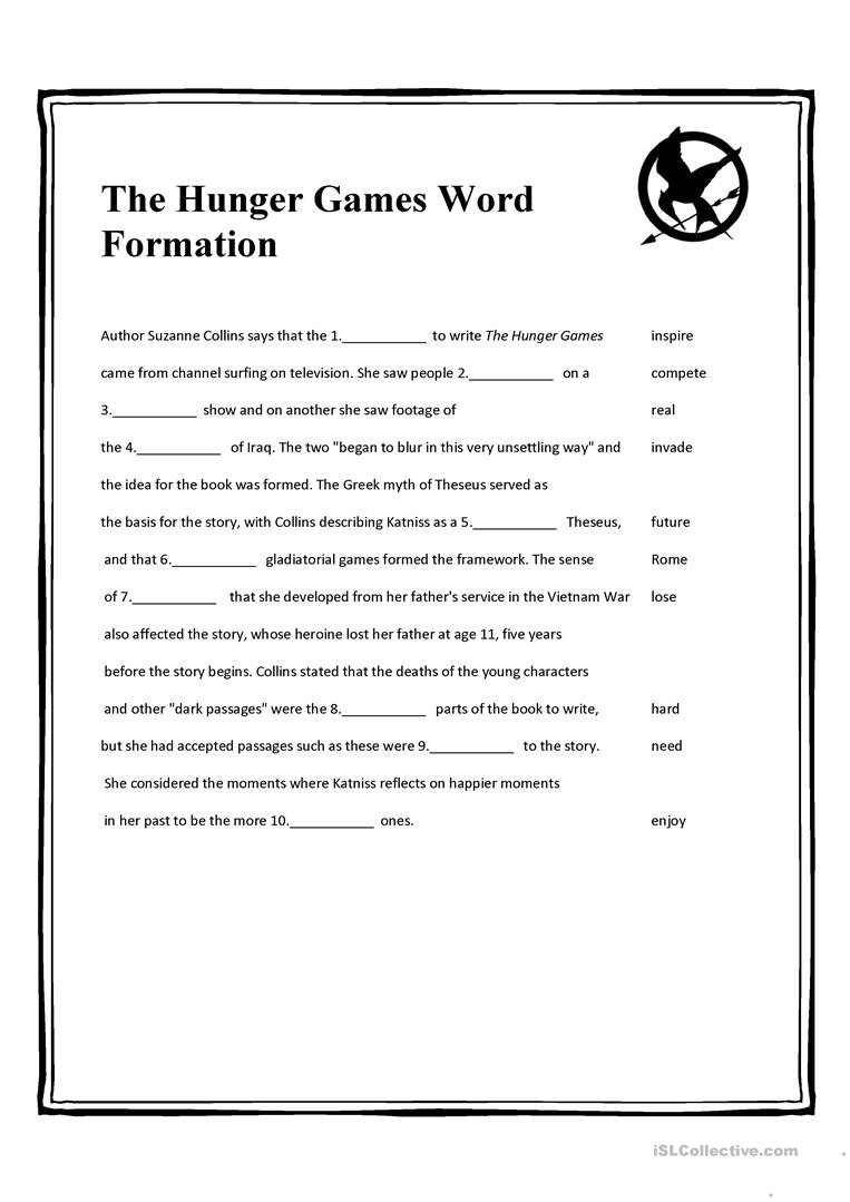 The Hunger Games Word Formation Worksheet - Free Esl Printable | Hunger Games Free Printable Worksheets