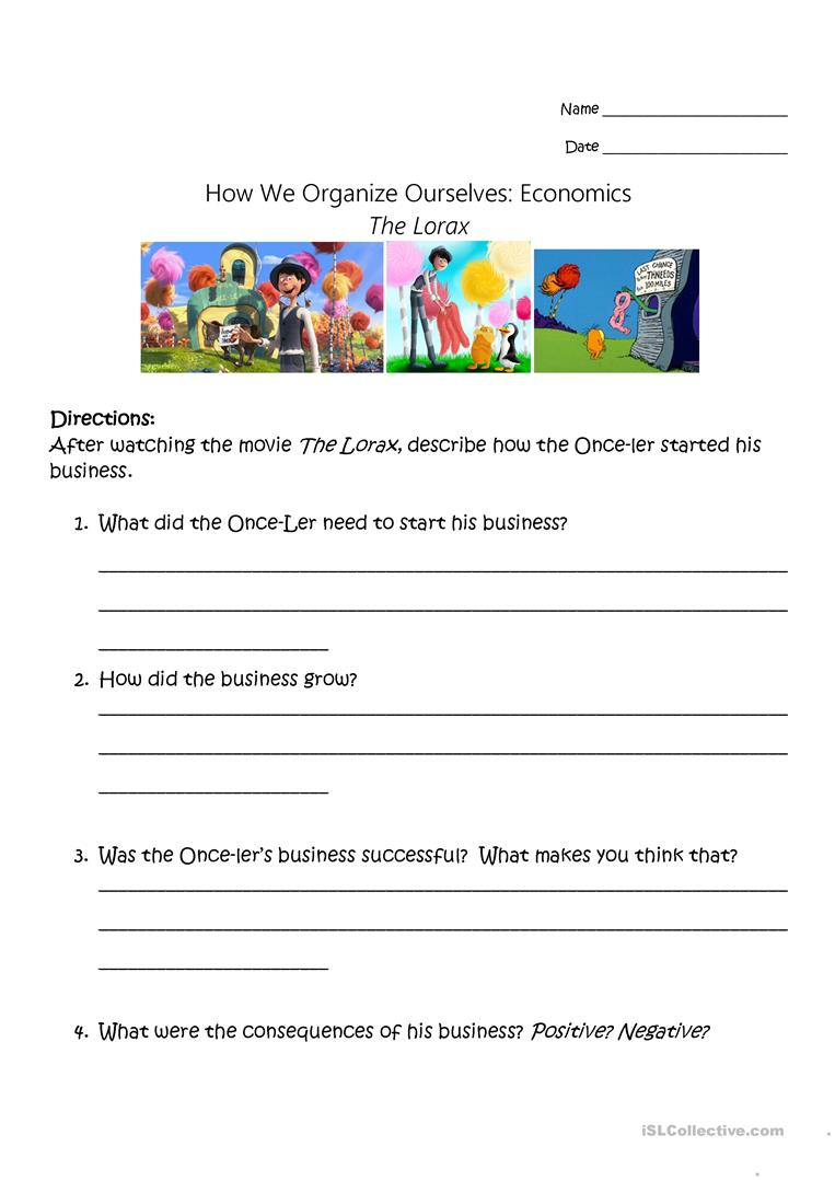 The Lorax - Economic Study Worksheet - Free Esl Printable Worksheets | Free Printable Economics Worksheets