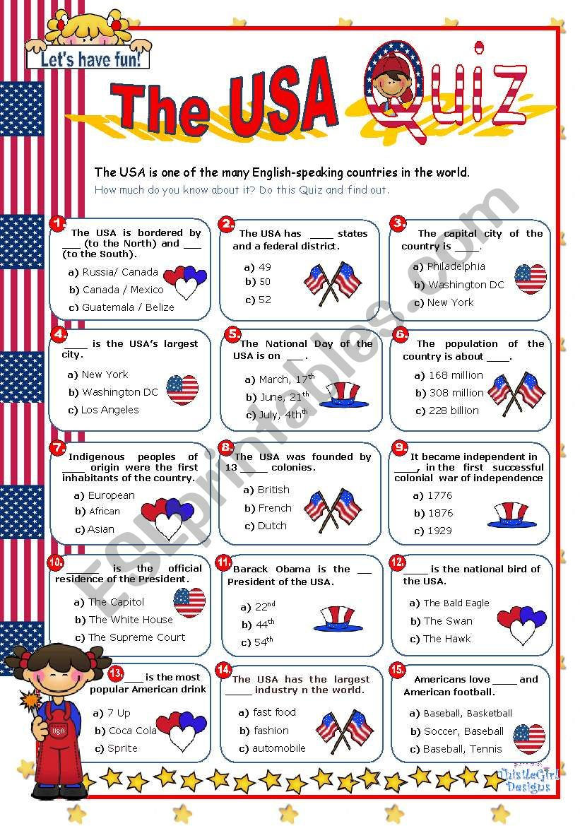 The Usa Quiz - Esl Worksheetmena22 | Usa Worksheets Printables