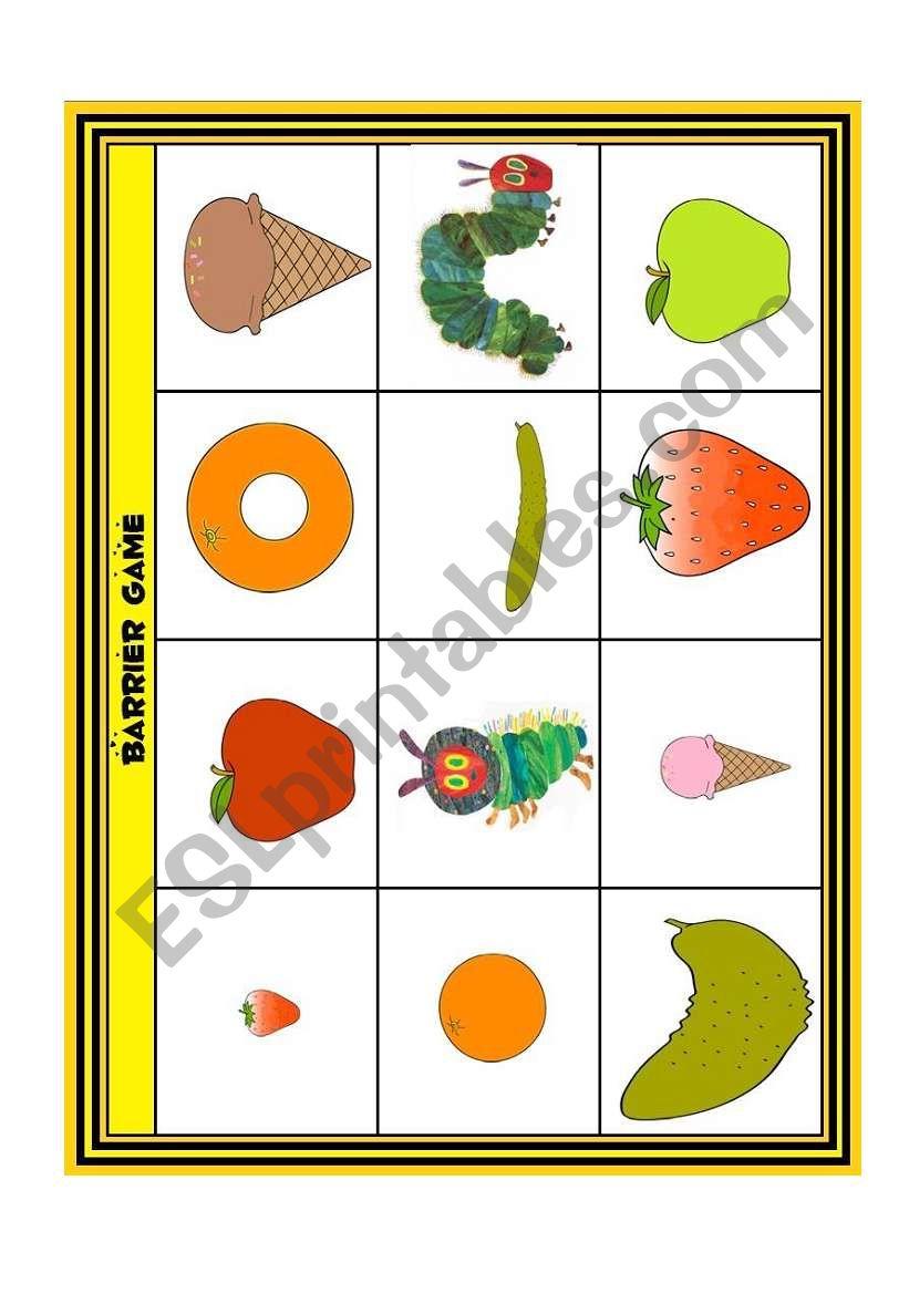 The Very Hungry Caterpillar Barrier Game - Esl Worksheetloangel | Printable Barrier Games Worksheets