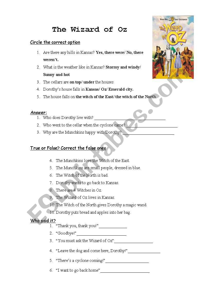 The Wizard Of Oz - Esl Worksheetnatigarbi | The Wizard Of Oz Printable Worksheets