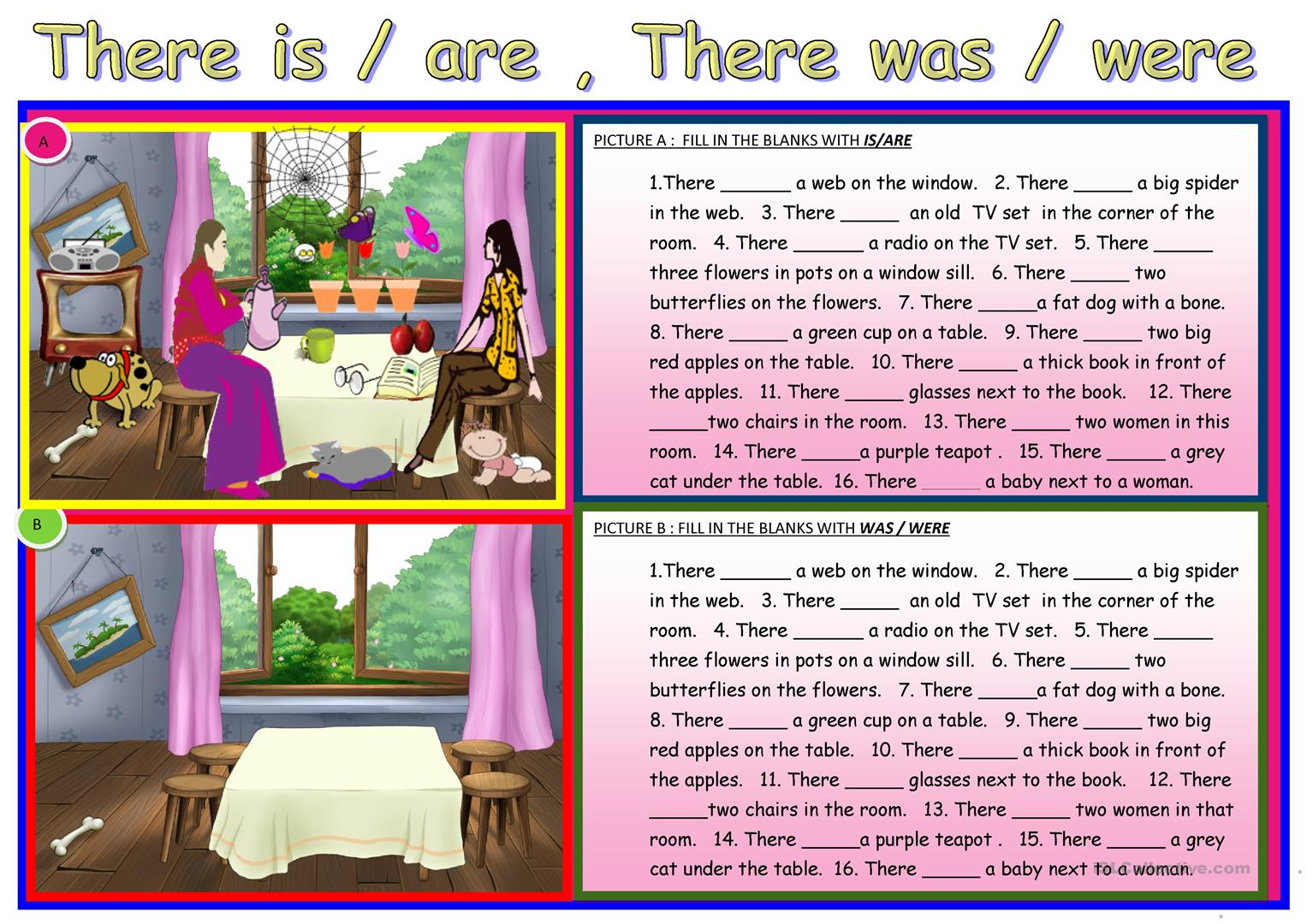 There Is / Are ,there Was / Were Worksheet - Free Esl Printable | There Was There Were Printable Worksheets