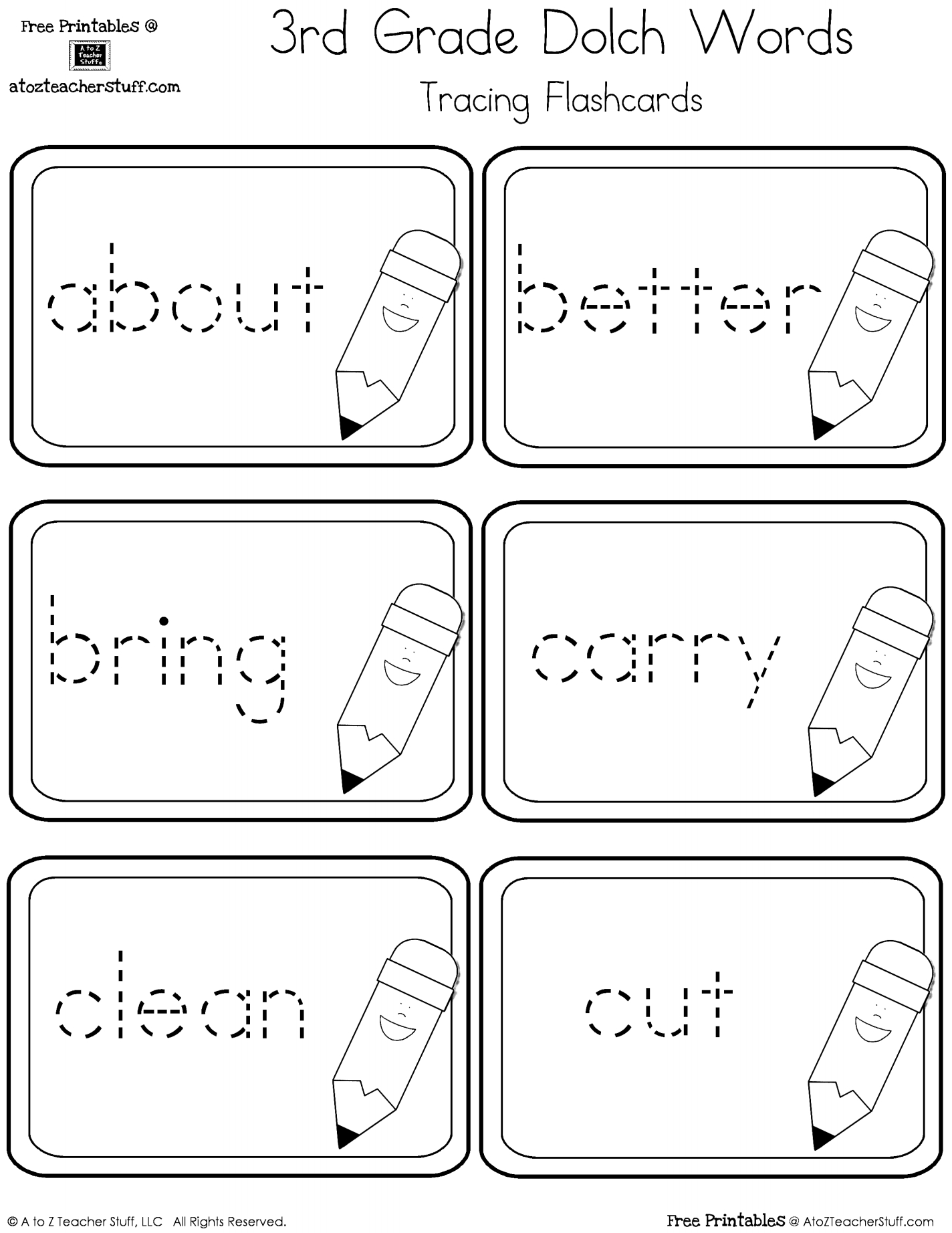 Third Grade Dolch Sight Words Tracing Flashcards | A To Z Teacher | Free Printable First Grade Sight Words Worksheets
