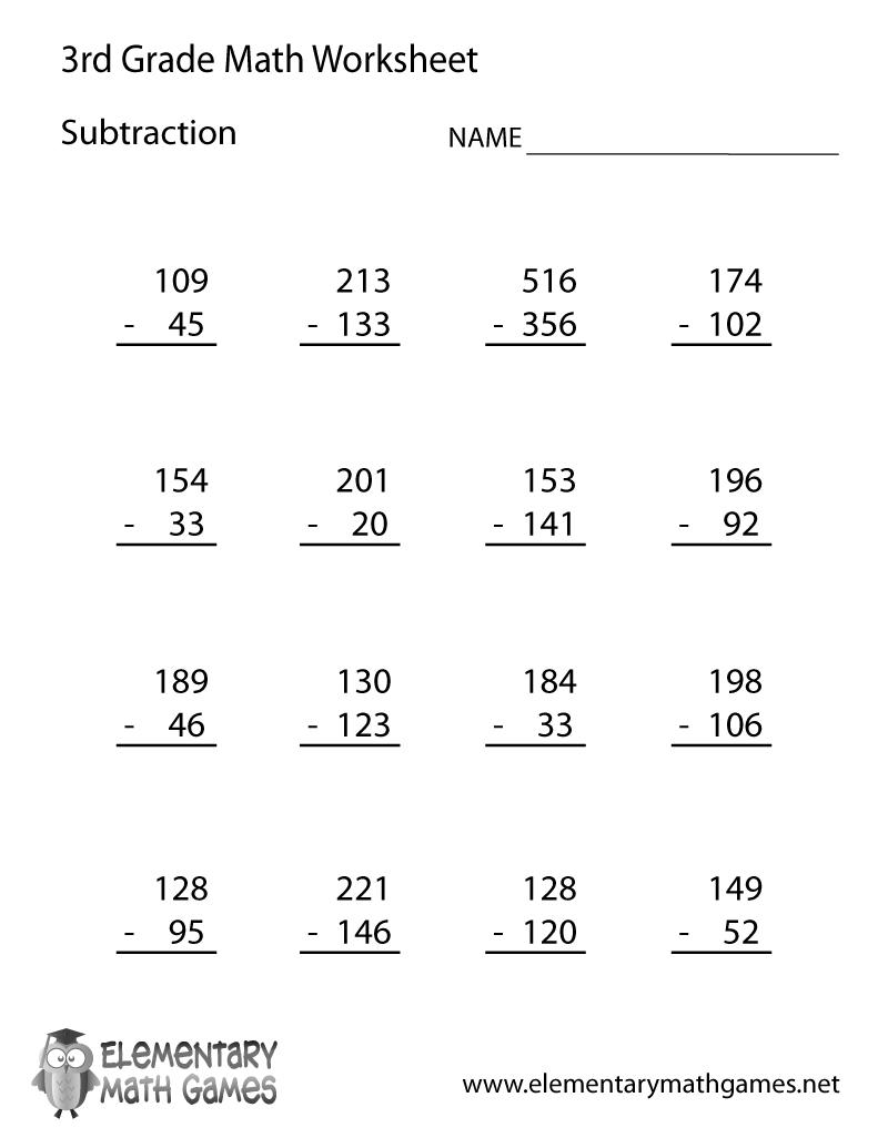 Third Grade Subtraction Worksheet Printable | Education | 3Rd Grade | 3Rd Grade Math Subtraction Printable Worksheets