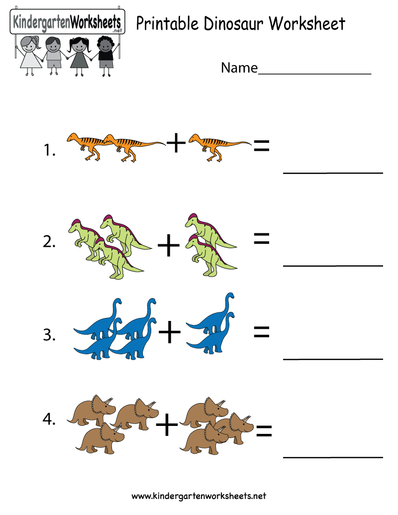 This Is A Dinosaur Addition Worksheet For Preschoolers Or | Dinosaur Printable Worksheets