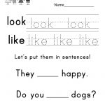 """This Is A Sight Word Worksheet For The Words """"look"""" And """"like"""". You 