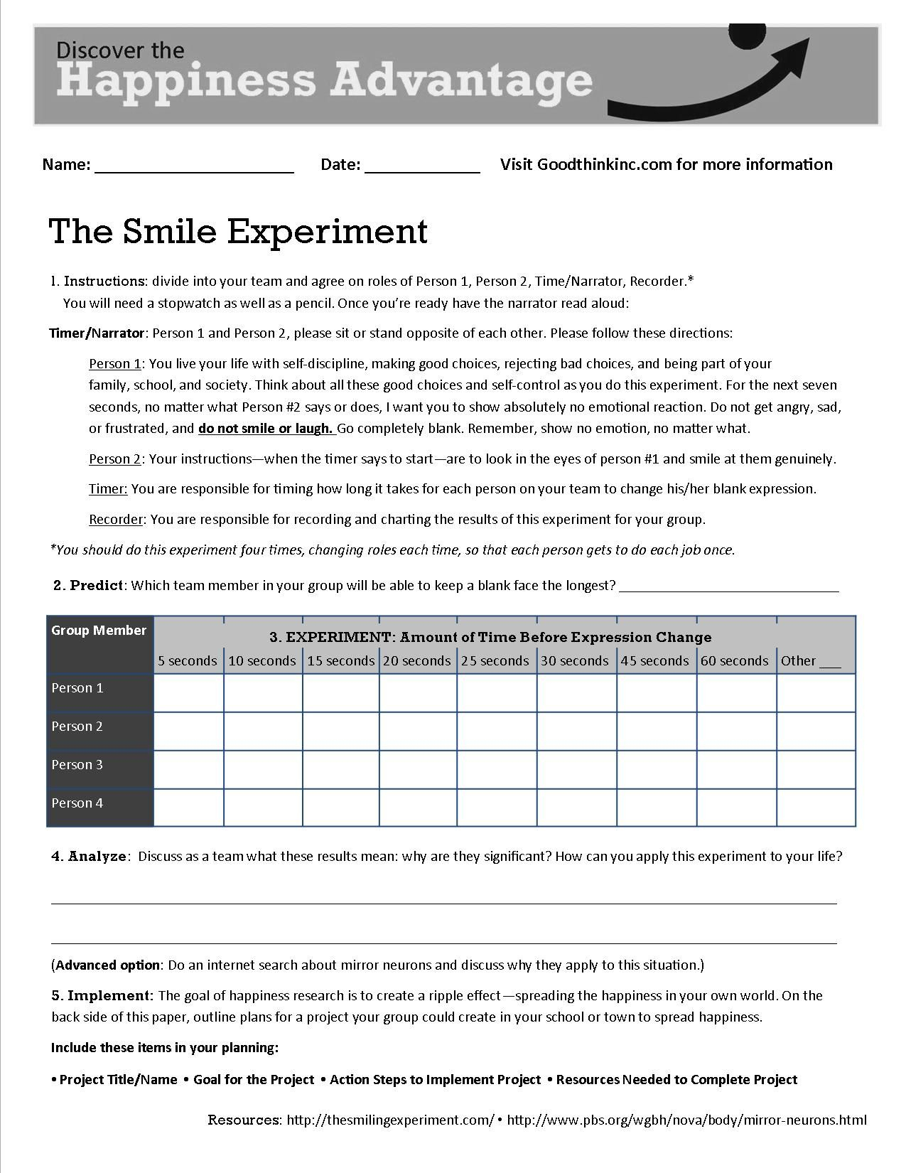 This Is Goodthink's Smile Experiment Worksheet That Turns Our Smile   Printable Mental Health Worksheets For Adults