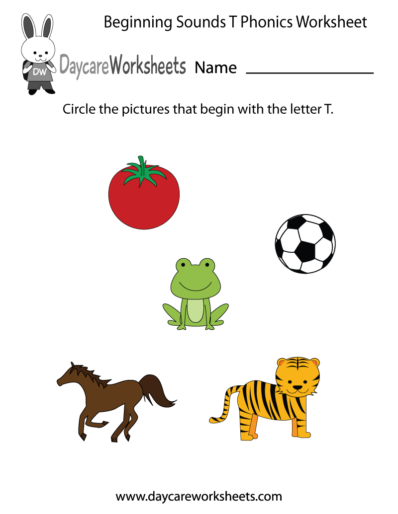 This Letter T Phonics Worksheet Helps Preschoolers Identify The | Animal Sounds Printable Worksheets