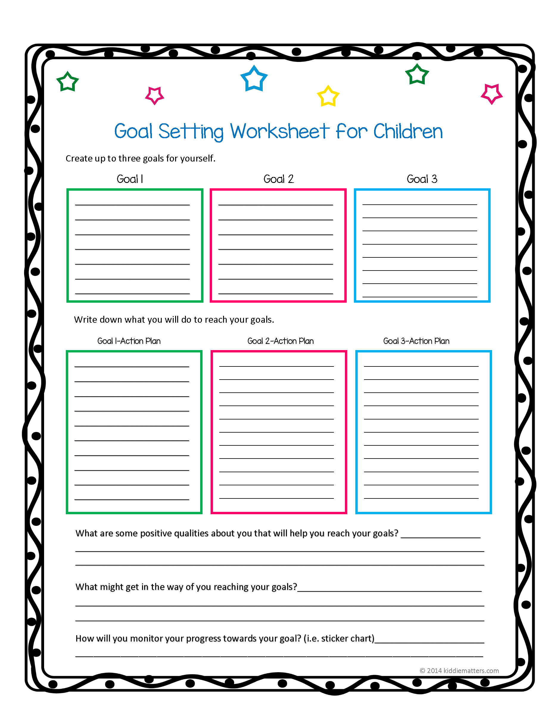 This Worksheet And Free Printable Helps Children Learn How To Set | Printable Goal Setting Worksheet For High School Students