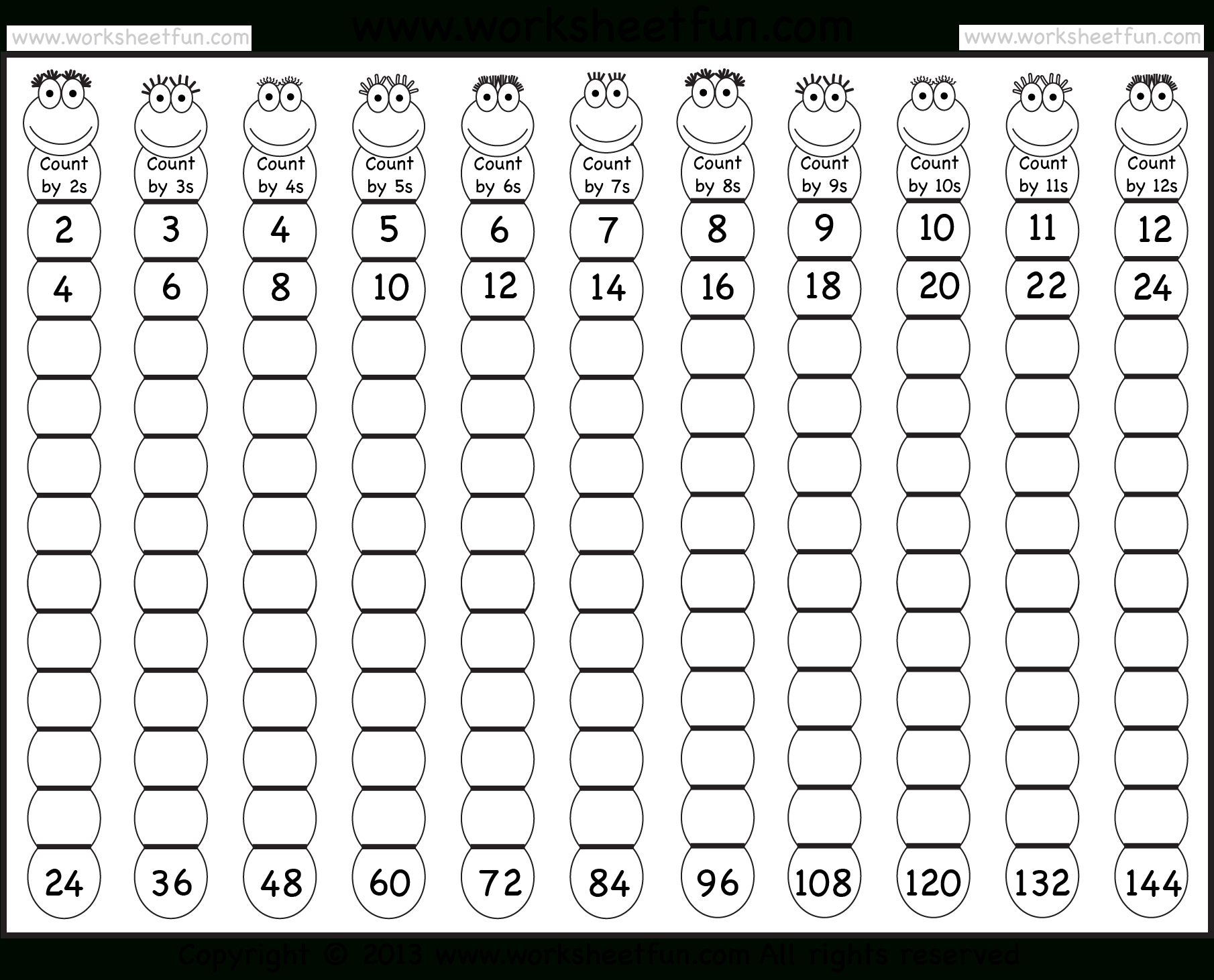 Times Table – 2-12 Worksheets – 1, 2, 3, 4, 5, 6, 7, 8, 9, 10, 11 | Free Printable Skip Counting Worksheets