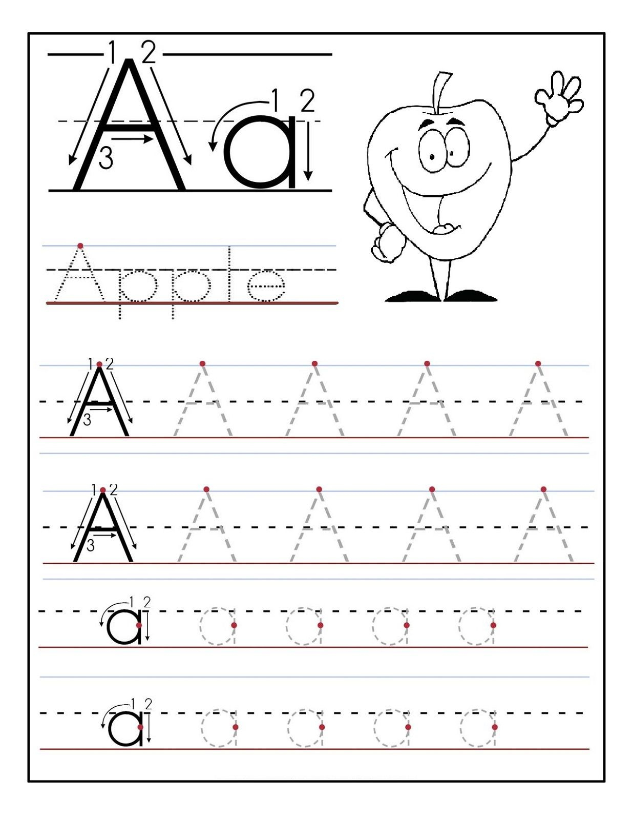 Trace The Letter A Worksheets | Artie | Preschool Worksheets, Letter | A For Apple Worksheet Printable