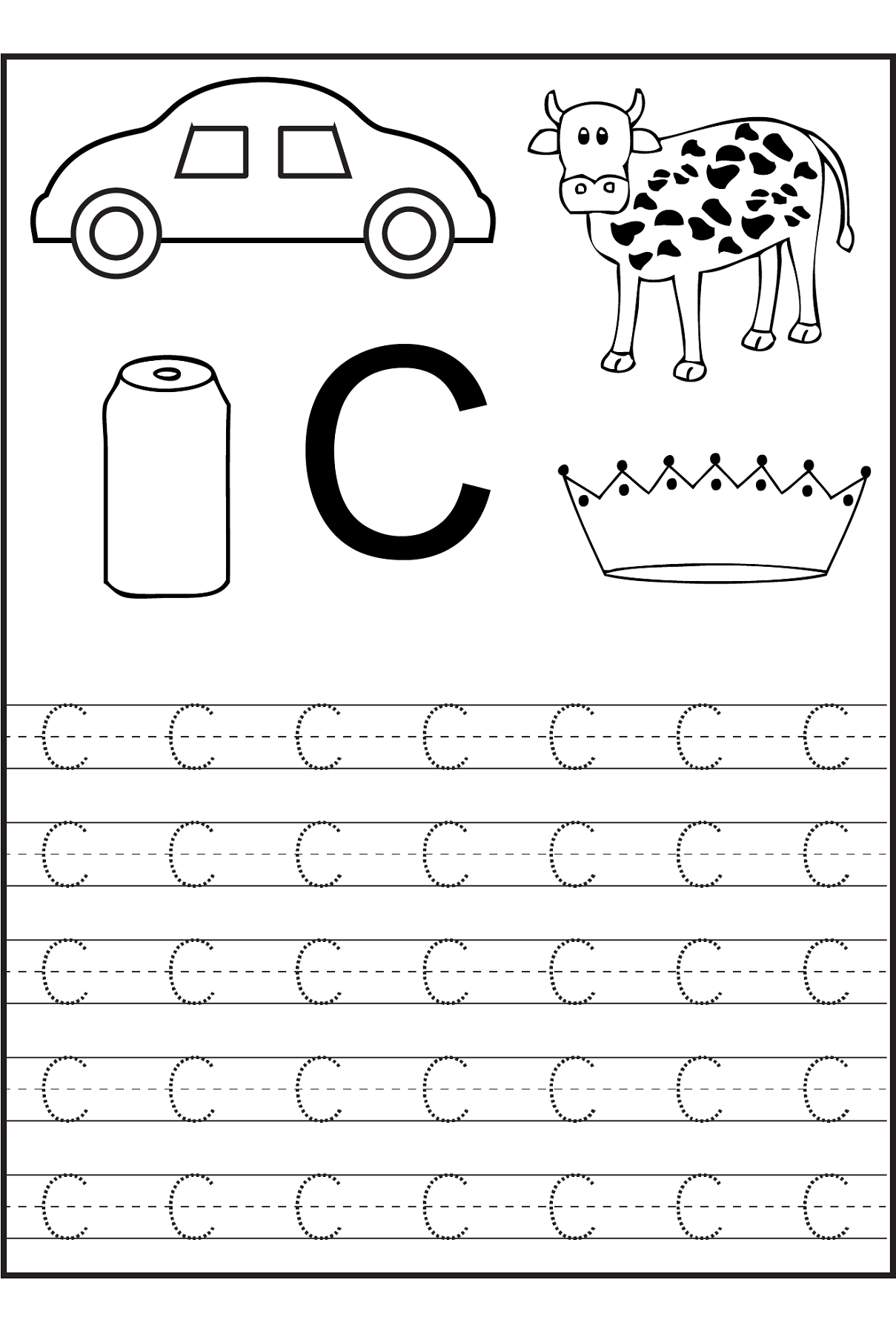 Trace The Letter C Worksheets | Alphabet And Numbers Learning | Letter C Printable Worksheets
