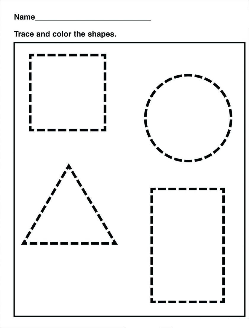 Tracing Shape Preschool Free Printable Worksheets Drawing Shapes | Free Printable Shapes Worksheets For Kindergarten