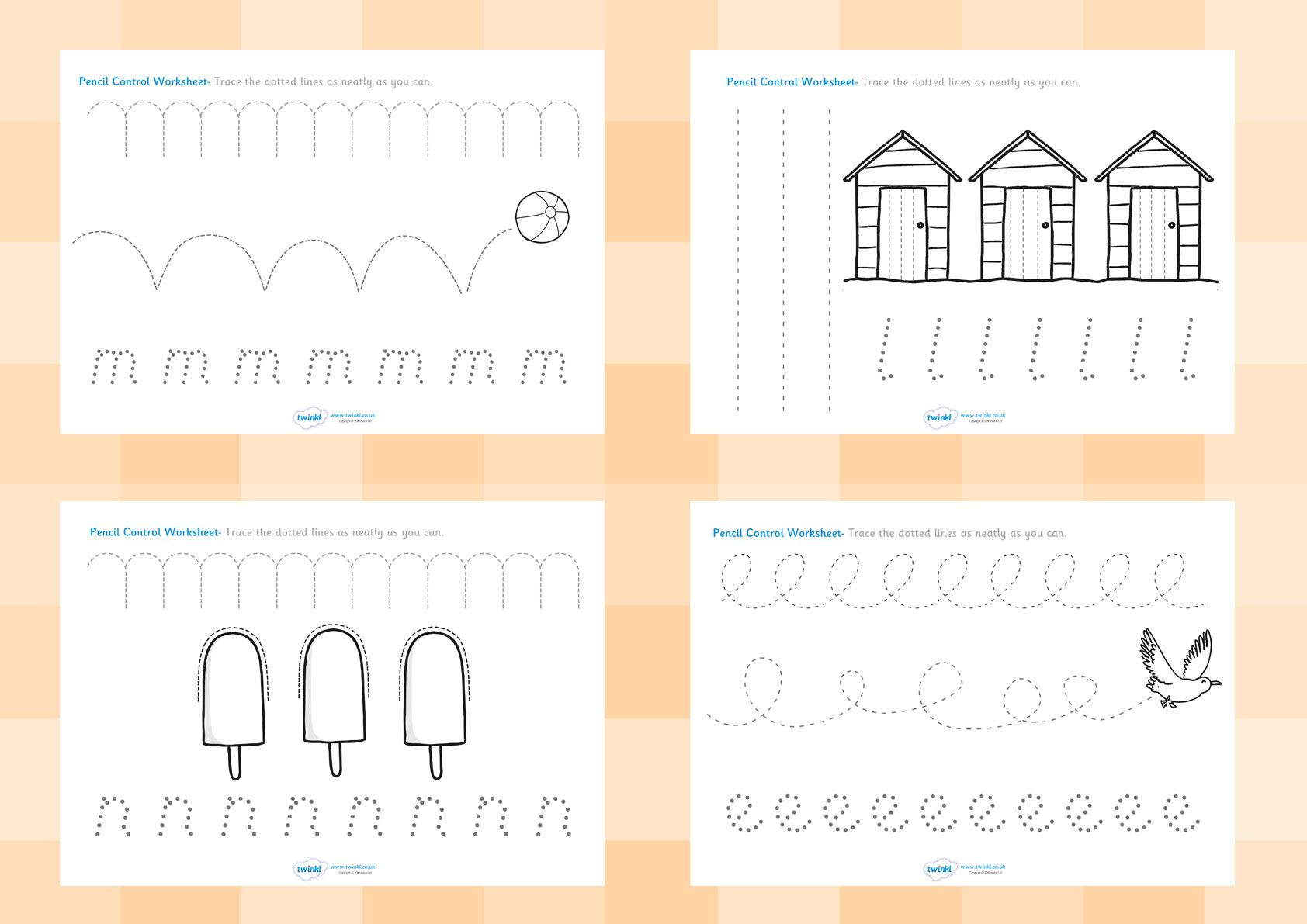 Twinkl Resources >> Seaside Pencil Control Worksheets >> Printable | Printable Pencil Control Worksheets