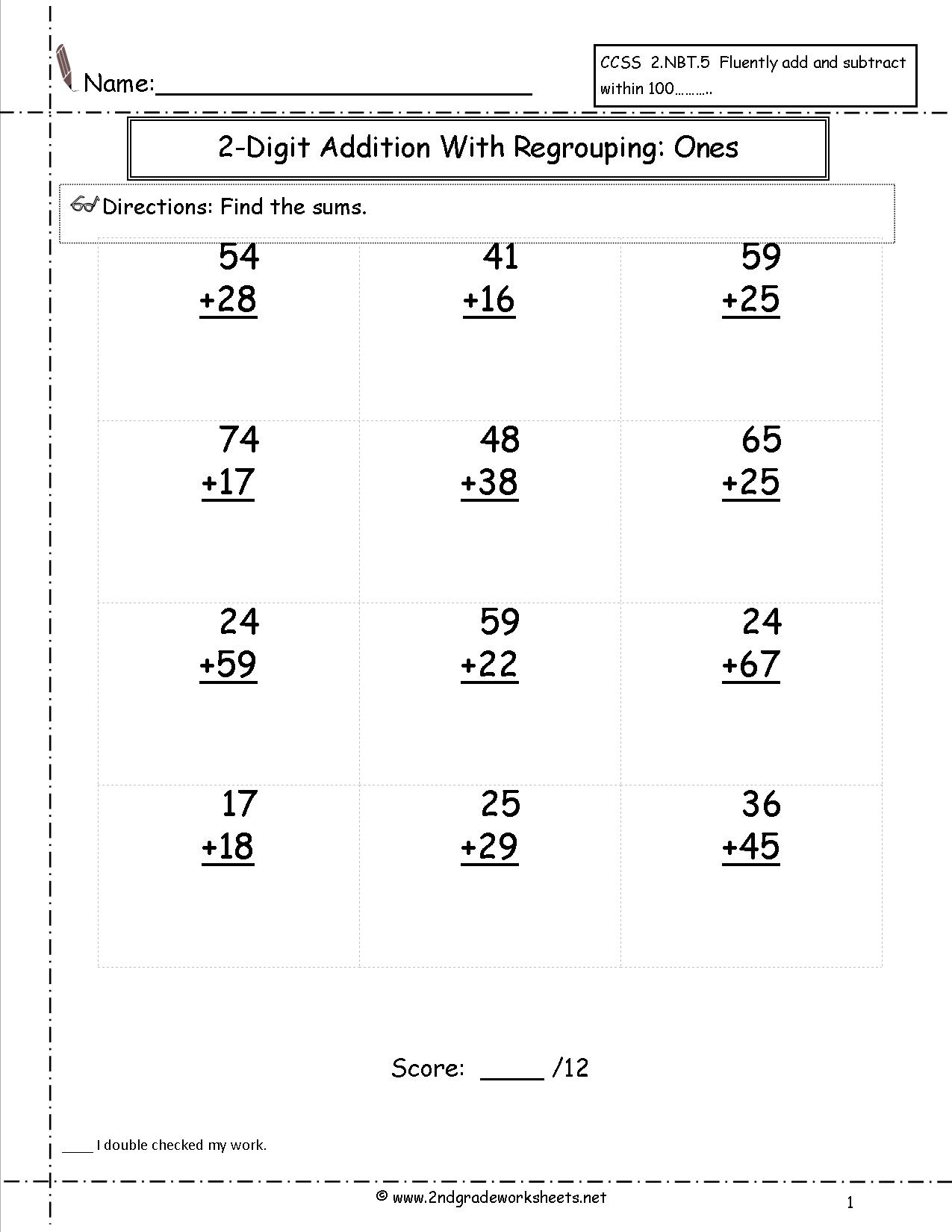 Two Digit Addition Worksheets | Printable 2 Digit Addition Worksheets
