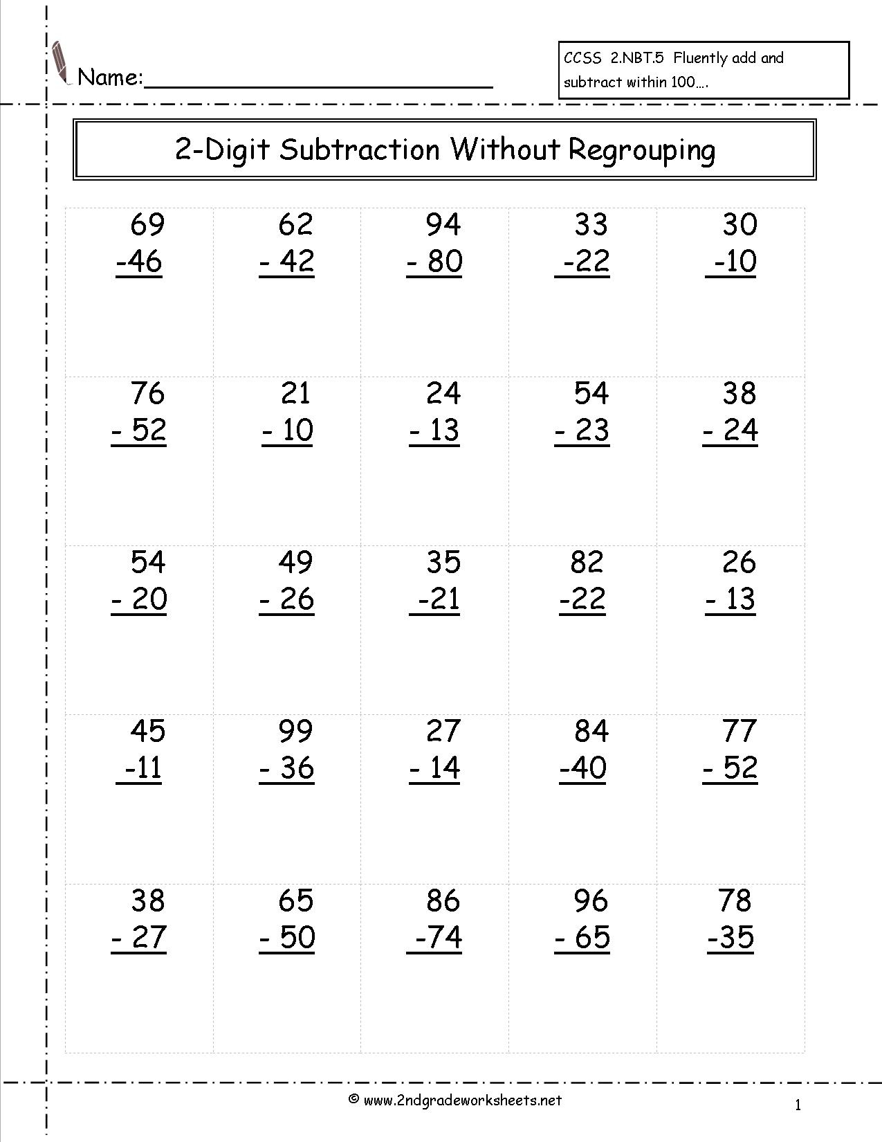 Two Digit Subtraction Worksheets - Free Printable Subtraction | Free Printable Subtraction Worksheets