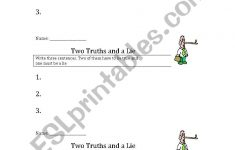 Two Truths And A Lie – Esl Worksheetfutamus | Two Truths And A Lie Worksheet Printable