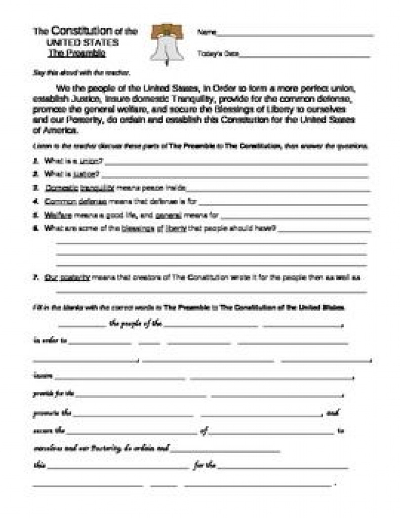 U. S. Constitution: Preamble And Bill Of Rights Worksheets With Free | Free Printable Us Constitution Worksheets