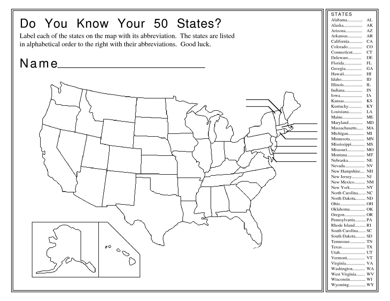United States Map Activity Worksheet | Social Studies | Map | Us States And Capitals Printable Worksheets