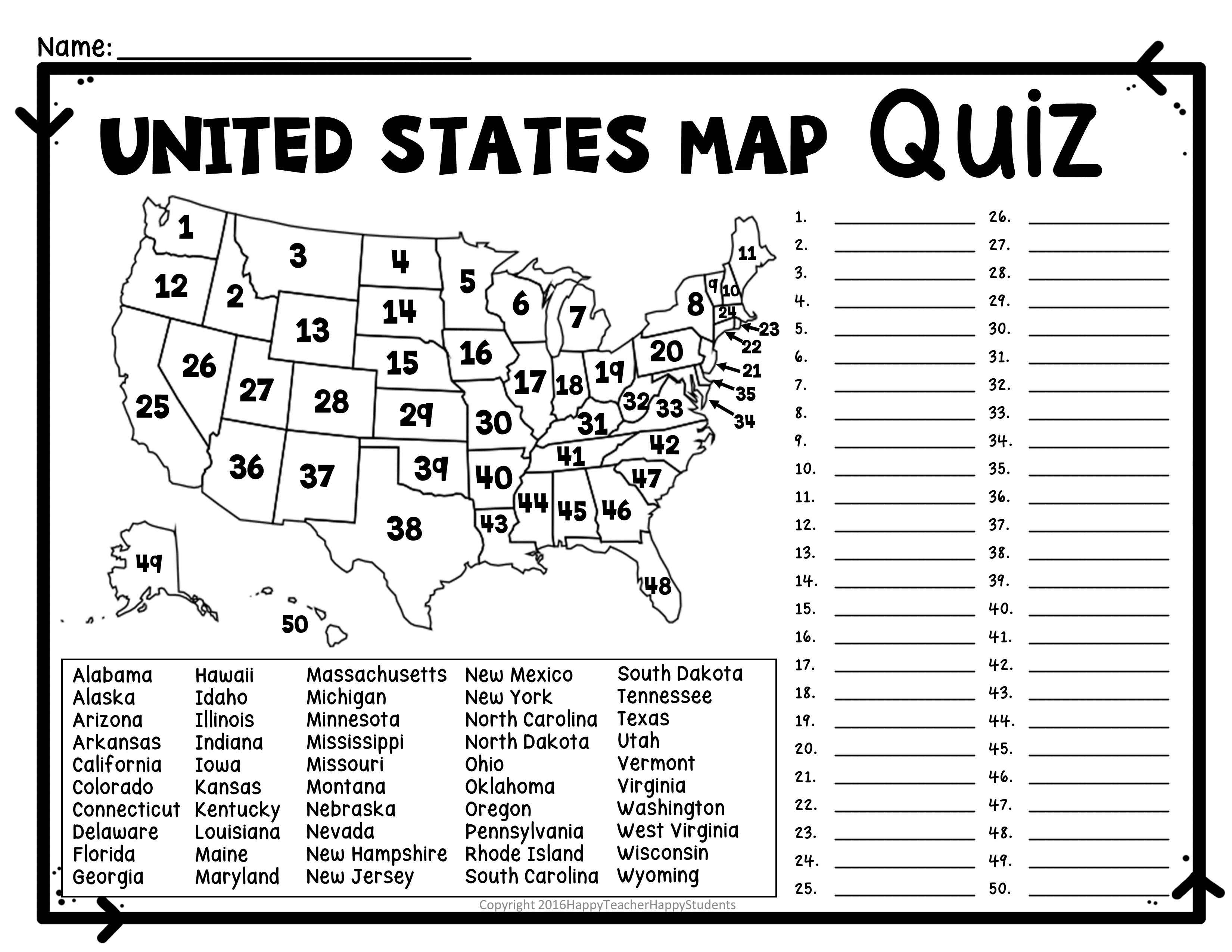United States Map Quiz & Worksheet: Usa Map Test With Practice | Us States And Capitals Printable Worksheets