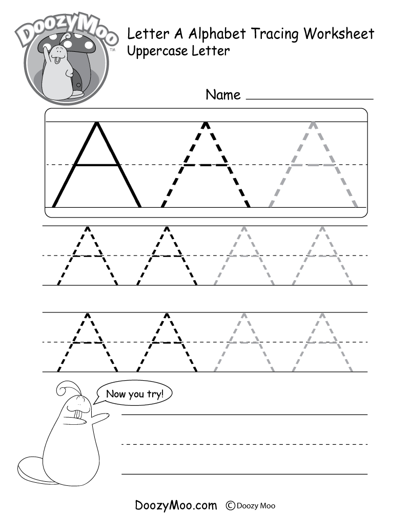 Uppercase Letter Tracing Worksheets (Free Printables) - Doozy Moo   Free Printable Alphabet Tracing Worksheets