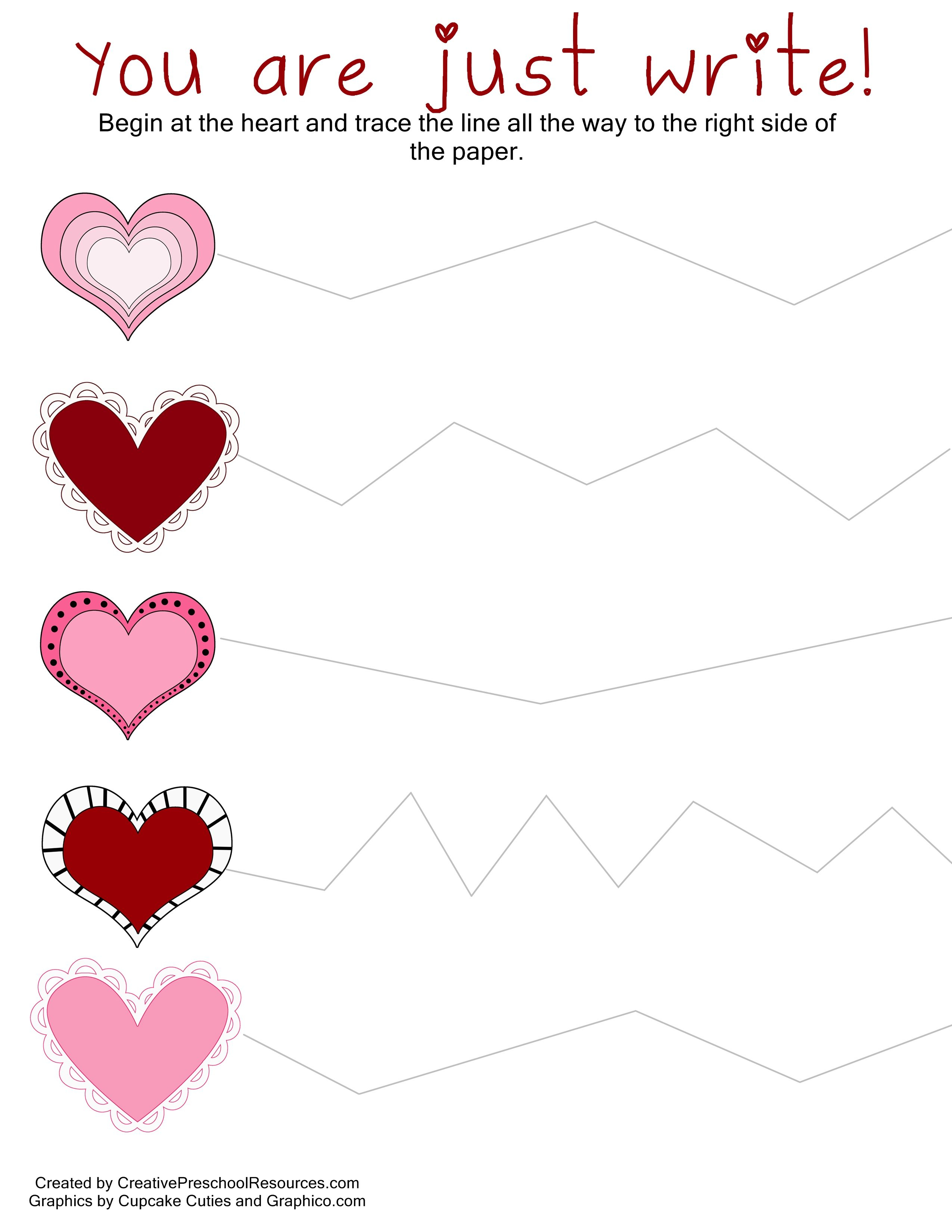 Valentine Trace & Cut Printables | I Heart You!!! | Preschool | Free Printable Preschool Valentine Worksheets