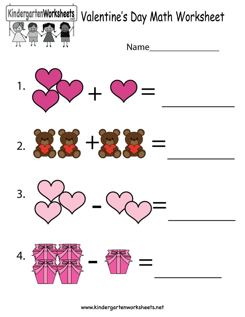 Valentine's Day Math Worksheet - Free Kindergarten Holiday Worksheet | Free Printable Valentine Math Worksheets