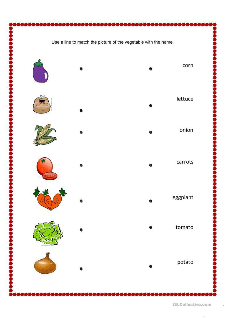 Vegetables And Fruits Match Worksheet - Free Esl Printable | Vegetables Worksheets Printables
