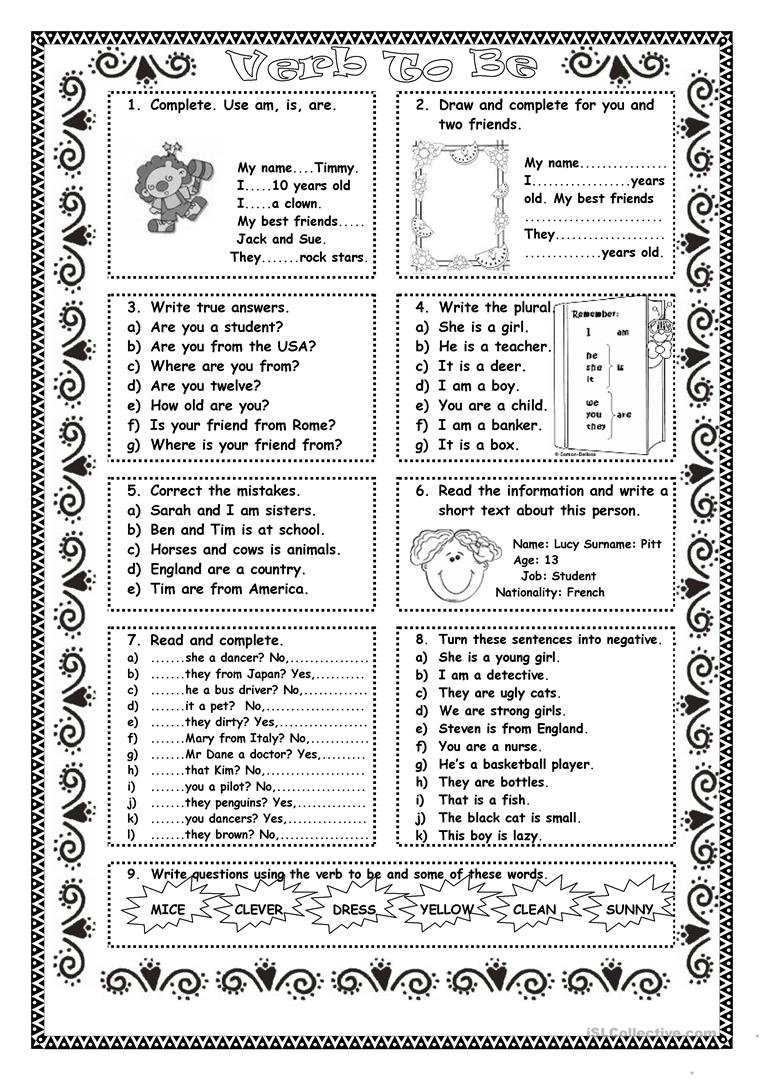 Verb To Be Practice Worksheet - Free Esl Printable Worksheets Made | To Be Worksheets Printable