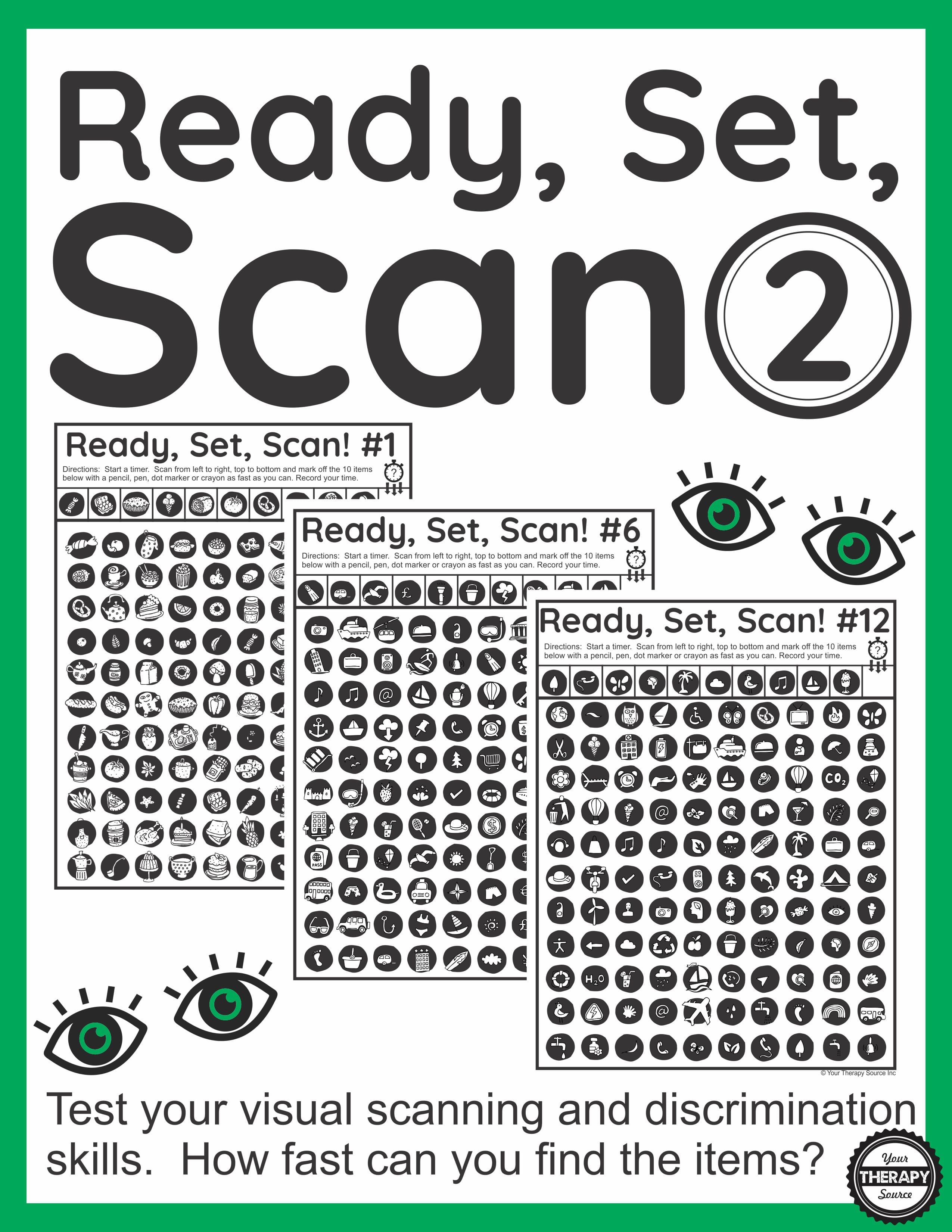 Visual Scanning Exercises - Ready Set Scan Level 2 - Your Therapy Source | Printable Visual Scanning Worksheets For Adults