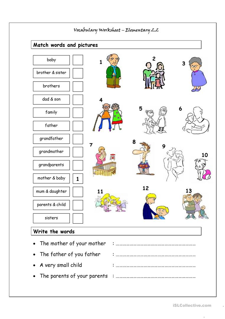 Vocabulary Matching Worksheet - Elementary 2.2 (Family) Worksheet | Family Printable Worksheets