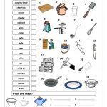 Vocabulary Matching Worksheet   In The Kitchen | Amazing | Life | Kitchen Utensils Printable Worksheets