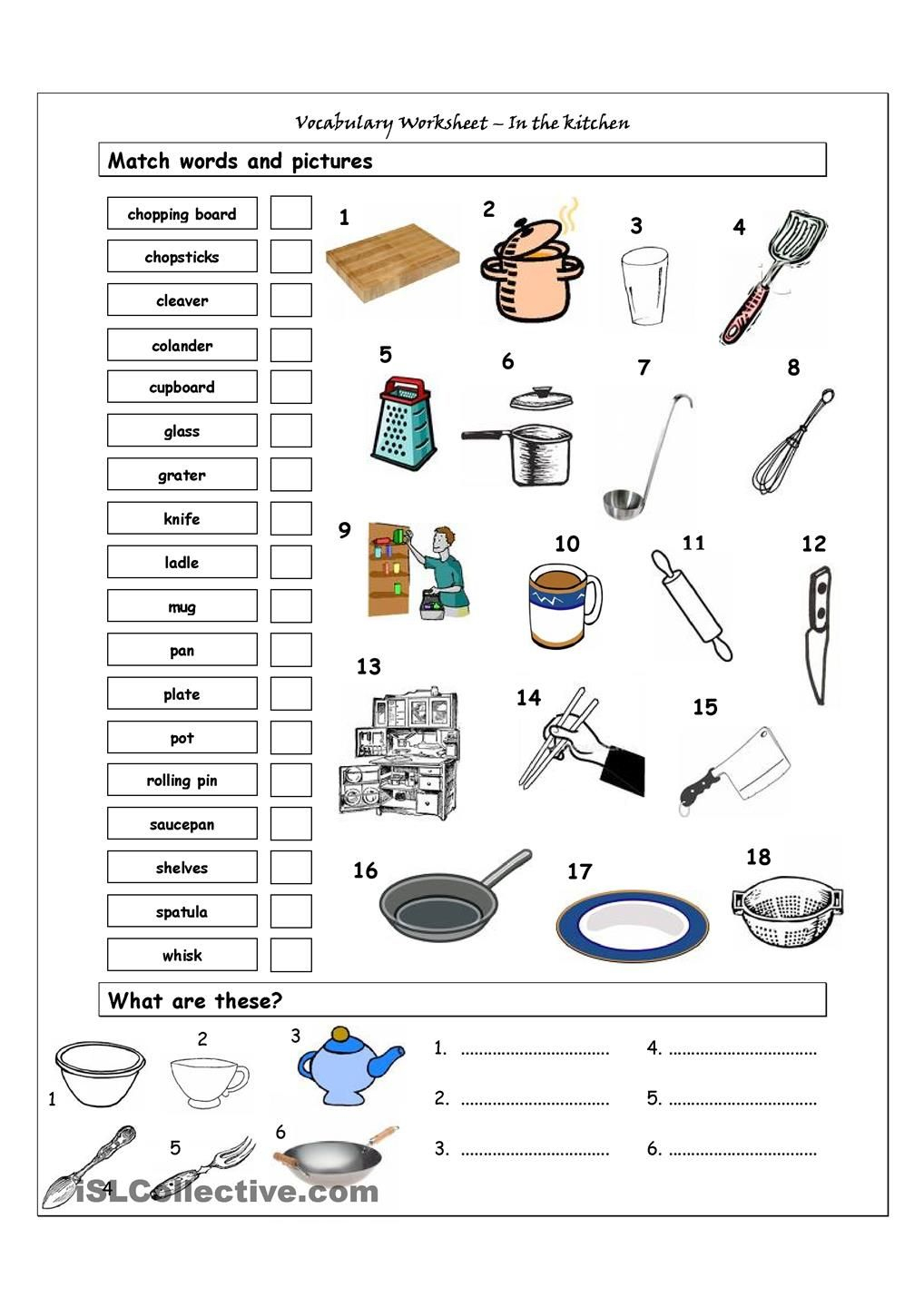 Vocabulary Matching Worksheet - In The Kitchen | Amazing | Life | Kitchen Utensils Printable Worksheets
