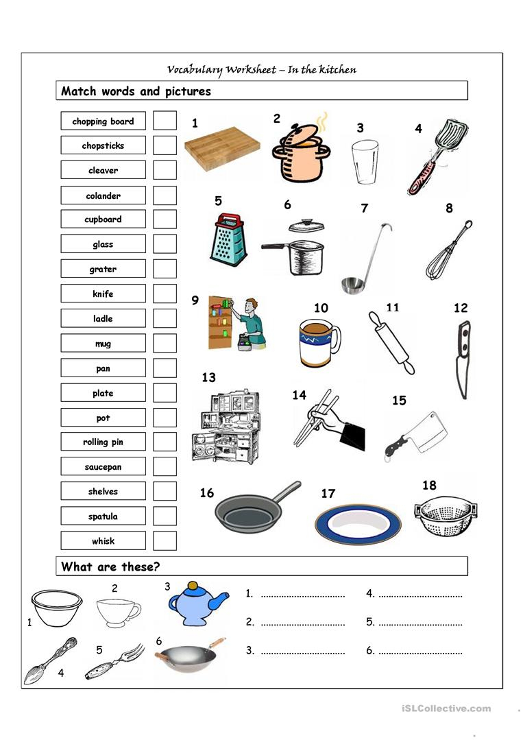 Vocabulary Matching Worksheet - In The Kitchen Worksheet - Free Esl | Free Printable Cooking Worksheets