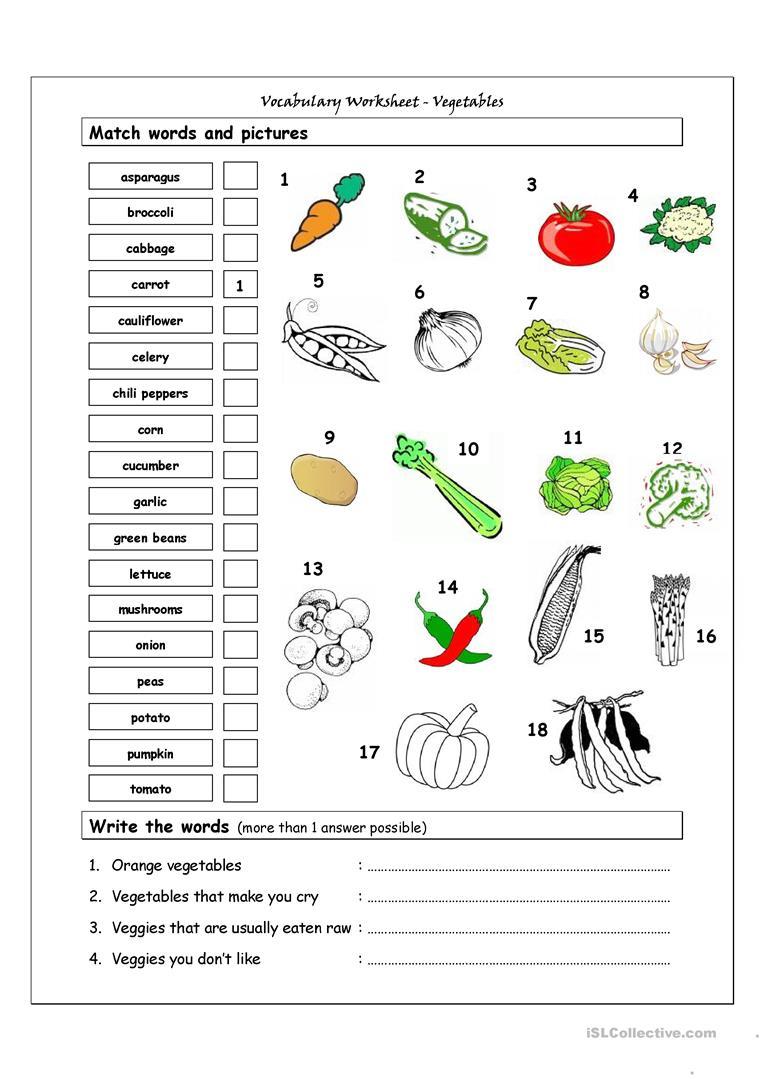 Vocabulary Matching Worksheet - Vegetables Worksheet - Free Esl | Vegetables Worksheets Printables