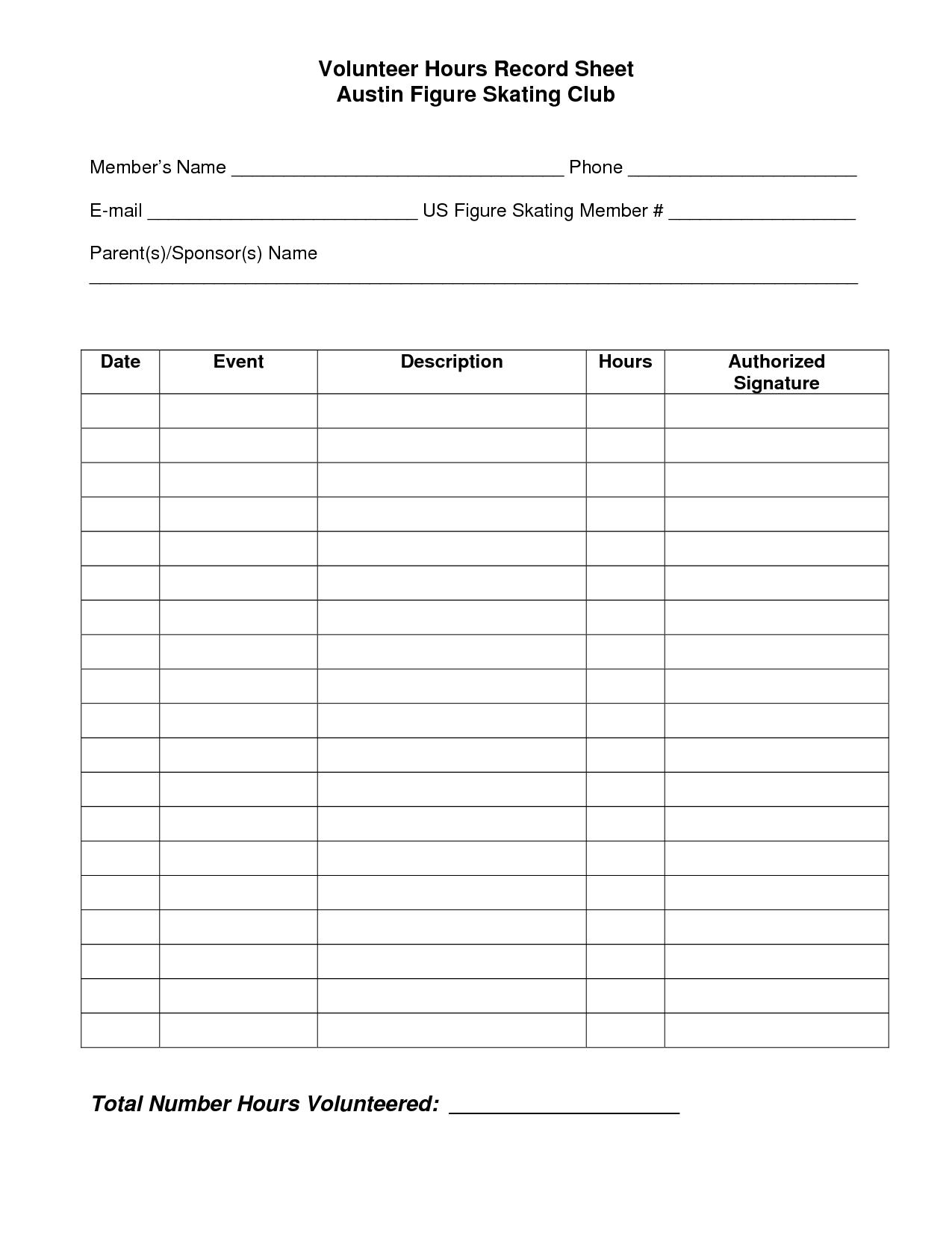 Volunteer Hours Log Sheet Template | Spreedsheets | Pinterest - Free | Community Service Printable Worksheets