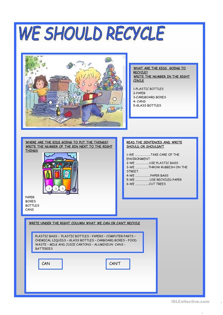 We Should Recycle Worksheet - Free Esl Printable Worksheets Made | Free Printable Recycling Worksheets
