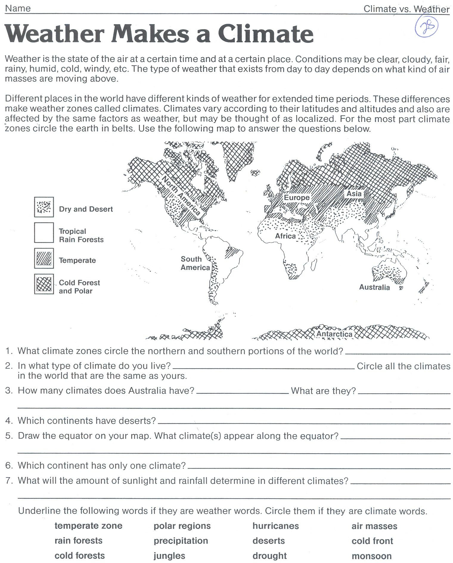 Weather Makes A Climate Worksheet | Science | Weather Worksheets | Free Printable Weather Map Worksheets