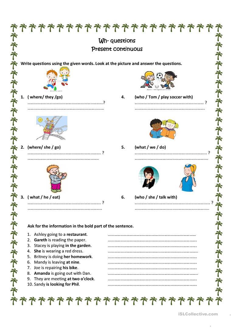 Wh Questions Present Progressive Worksheet - Free Esl Printable | Present Progressive Worksheets Printable