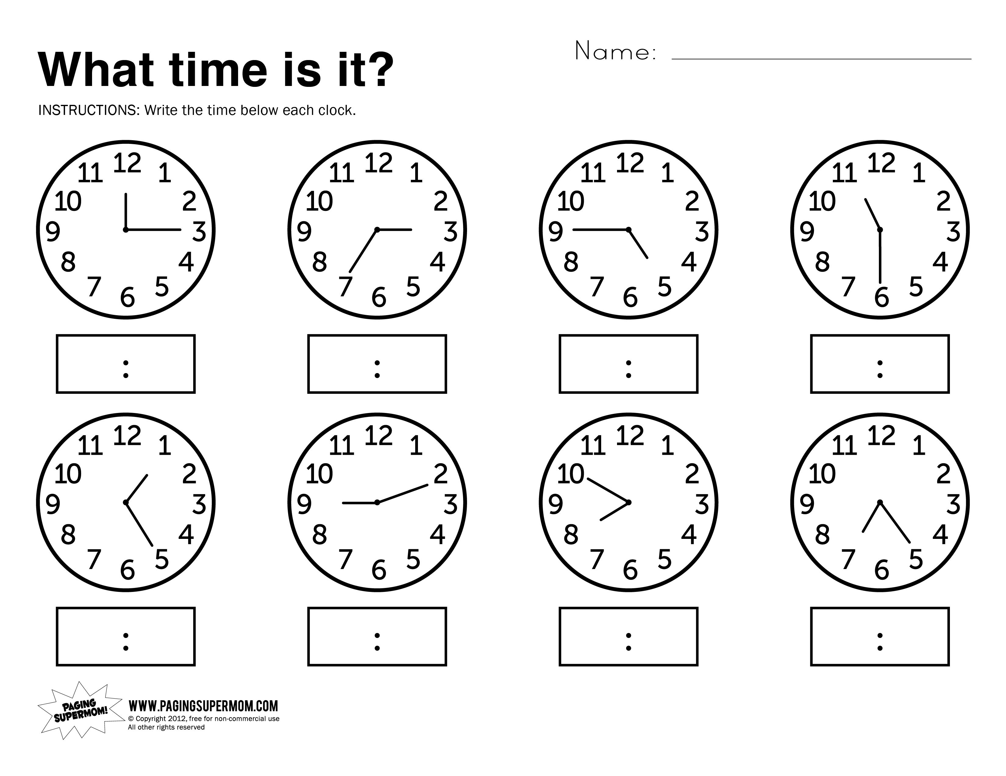 What Time Is It Printable Worksheet | Kolbie | Kindergarten | Printable Telling Time Worksheets 1St Grade