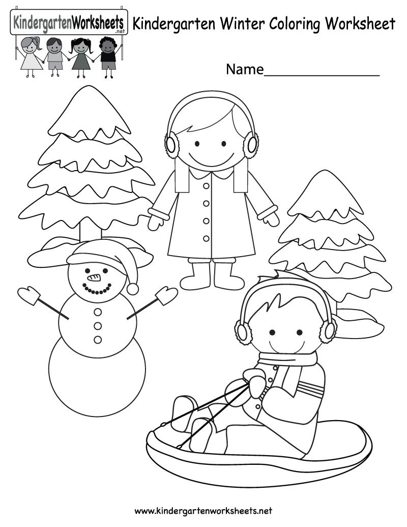 Winter Coloring Worksheet - Free Kindergarten Seasonal Worksheet For | Winter Holidays Worksheets Printables